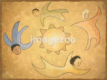 Four people flying around the sun