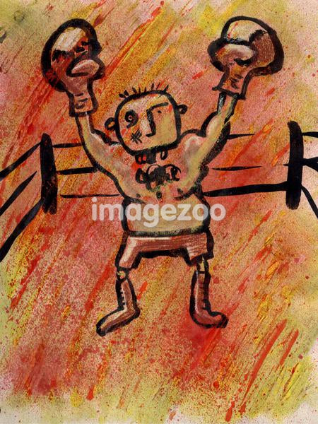The winner raising his hands after the boxing match