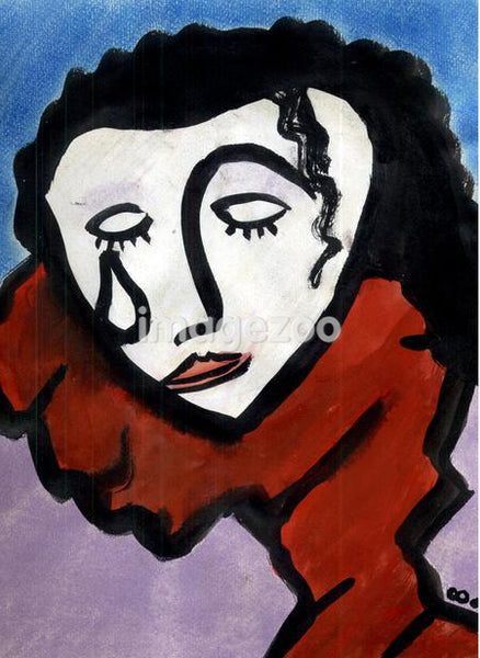 An illustration of a woman in tears