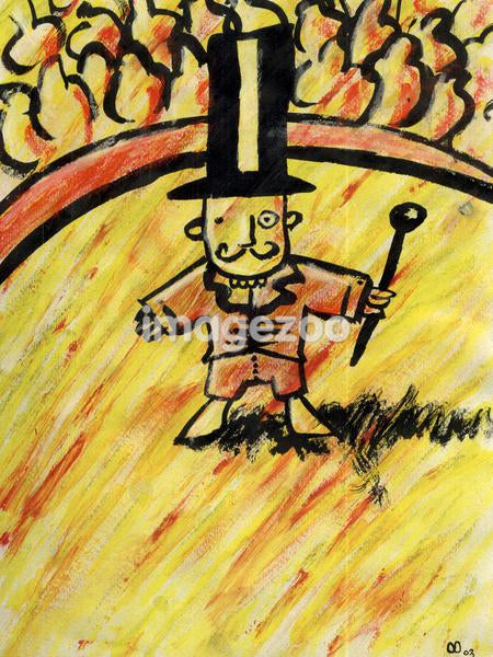 The circus man standing in the arena with his wand