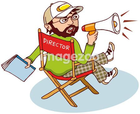 A man in a directors chair shouting through a blow horn