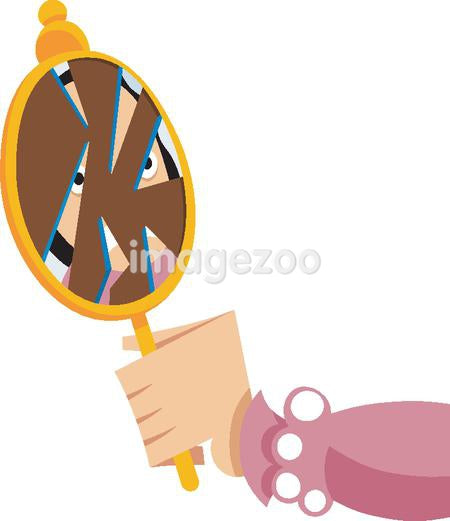 A woman looking into a broken mirror
