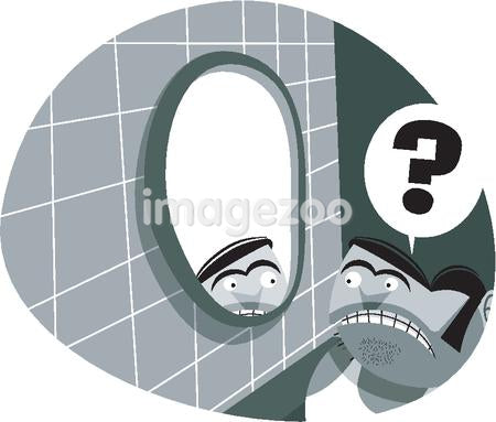 An illustration of a short man looking in the bathroom mirror with a question mark in a speech bubble above his head