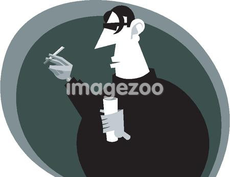A drawing of a man with a drink and cigarette