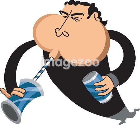 A man drinking soda on white background