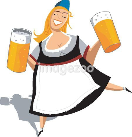 A woman holding pitchers of beer on white background