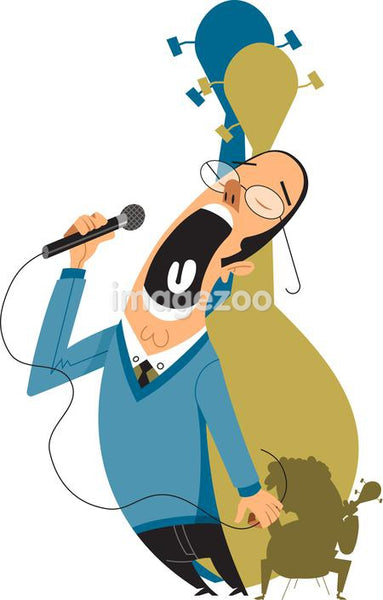 Man singing using a microphone