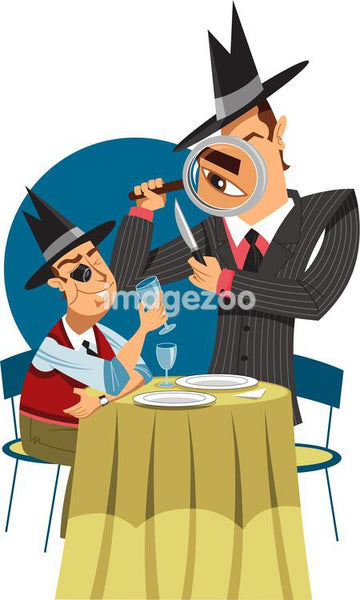 Two men examining dinnerware and a wine glass for fingerprints