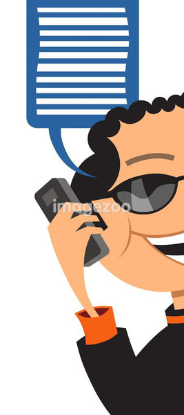 Illustration of a businessman talking on his cell phone