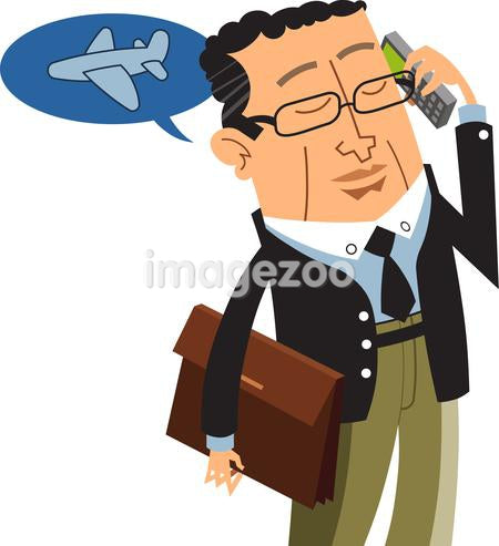 Illustration of a businessman making airline reservations on his cellular phone