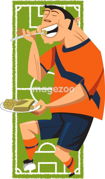 Soccer player eating