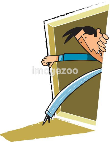 A man walking out from a door, touching his toes to the doormat