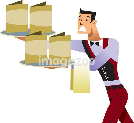 A waiter trying to balance menus on trays