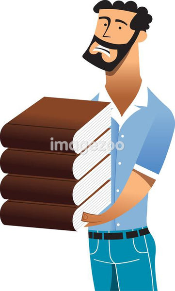 A man holding a heavy stack of books