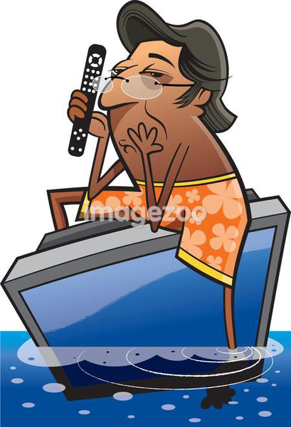 A man in beach shorts floating in the ocean on a TV with a remote control
