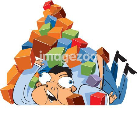 A man buried under a pile of boxes