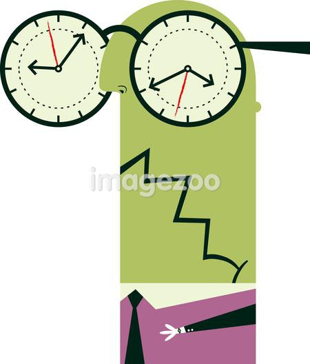 An illustration of a figure wearing over sized glasses with clocks where the lenses usually are