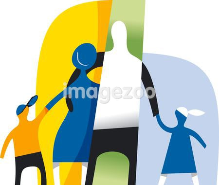 An abstract illustration of a family