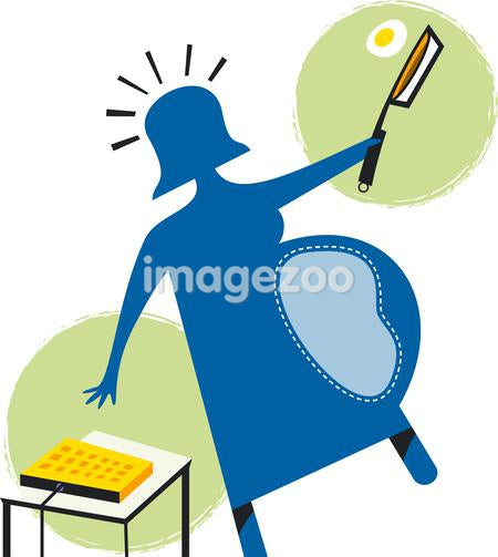 An abstract illustration of a pregnant woman flipping an egg in a pan