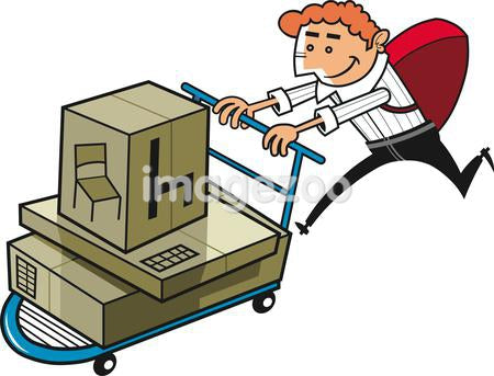 An illustration of a man pushing a load of cardboard boxes on a trolley