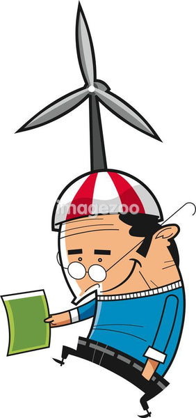An illustration of a man with a large wind turbine on his hat