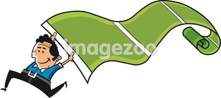 An illustration of a man running holding a long green roll of fabric