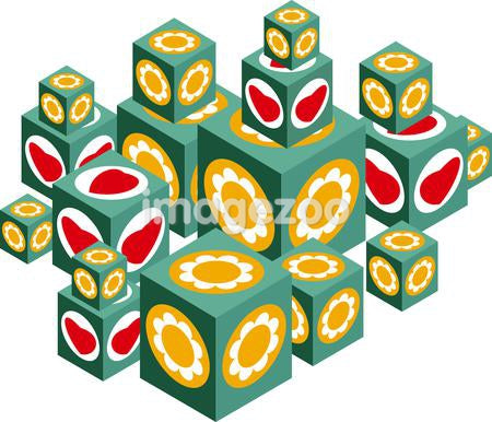 Illustration of building blocks with hearts and flowers on them