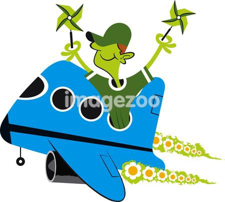 A man holding pinwheels while flying a plane with flowers as emissions