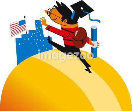 Illustration of a graduate wearing a backpack, cap, and holding a diploma going towards a building with an American flag