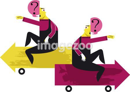 Two figures with questions sitting on arrow automobiles