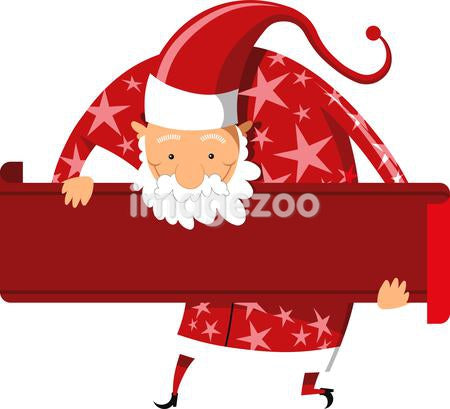 Illustration of Santa Claus with a long list