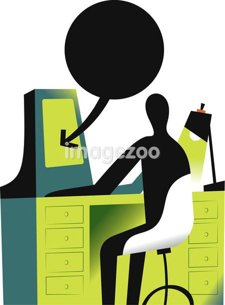Illustration of a figure at a work desk with a text box