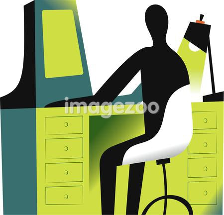 Illustration of a figure at a work station