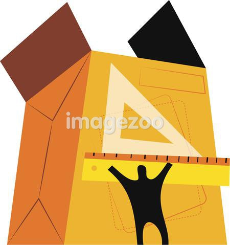 Illustration of a figure measuring a large box