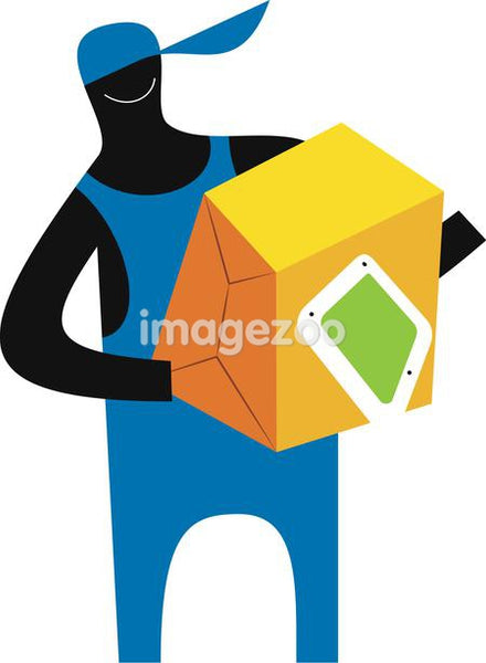 Illustration of a figure carrying a box
