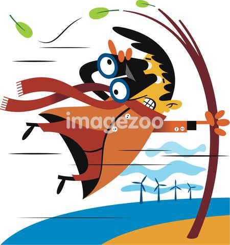 Illustration of a man with binoculars being blown by strong wind