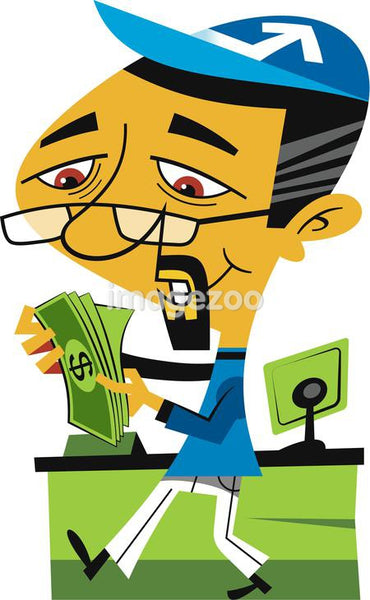 Illustration of a man counting money