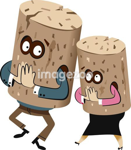 Illustration of two figures wearing cork costumes