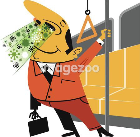 Illustration of a man releasing germs on a train