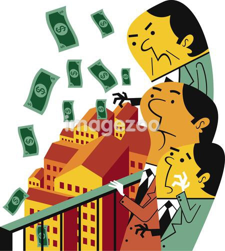 Illustration of businessmen throwing money from a balcony
