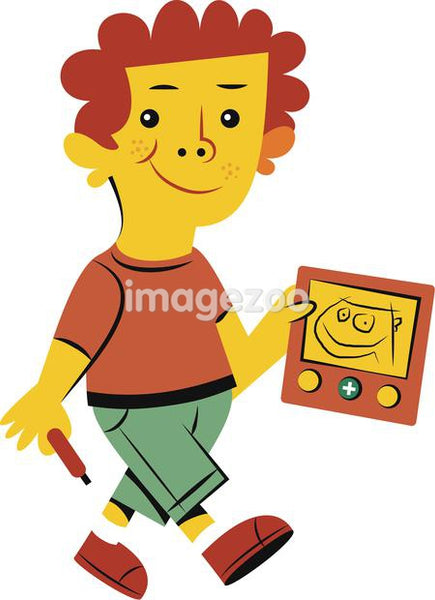 Illustration of a small boy with a drawing toy