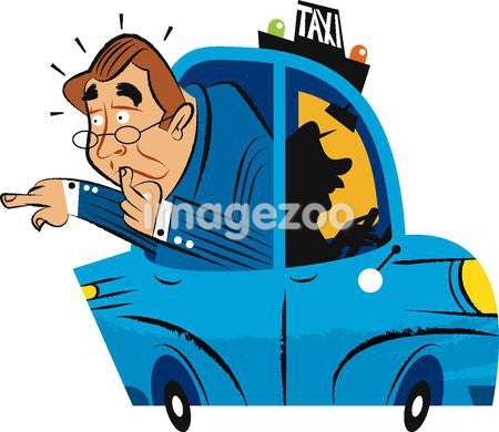 A man sticking his head out of a taxi