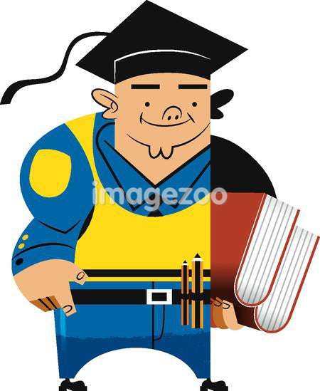 A man wearing a graduation hat and books