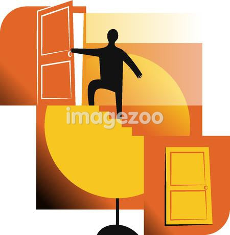 A man going through a door at the top of the stairs