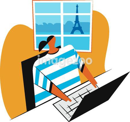 A woman at the computer with the eiffel tower in the background