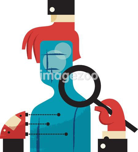 hands examining a figure with a magnifying glass