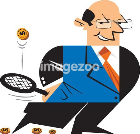 A man holding a tennis racket bouncing a coin
