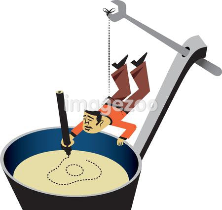 A man being lifted by a wrench into a pot