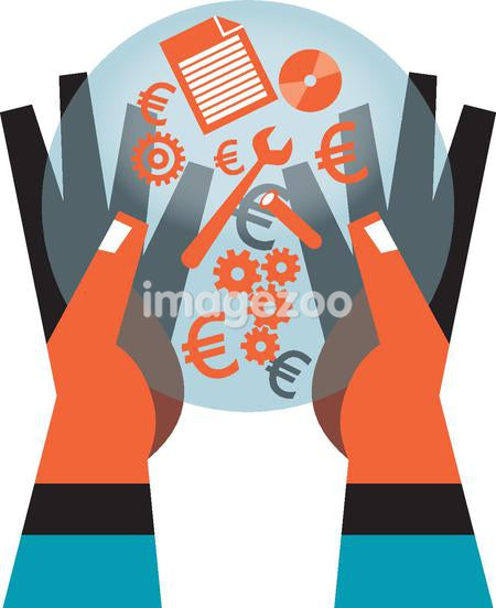 Hands carrying symbols like a euro, wrench, gears, disc, paper,
