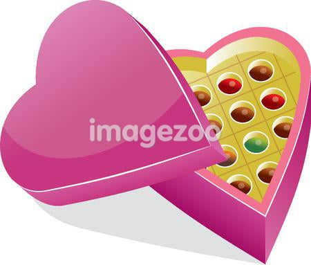 A box of chocolates in a heart shaped box
